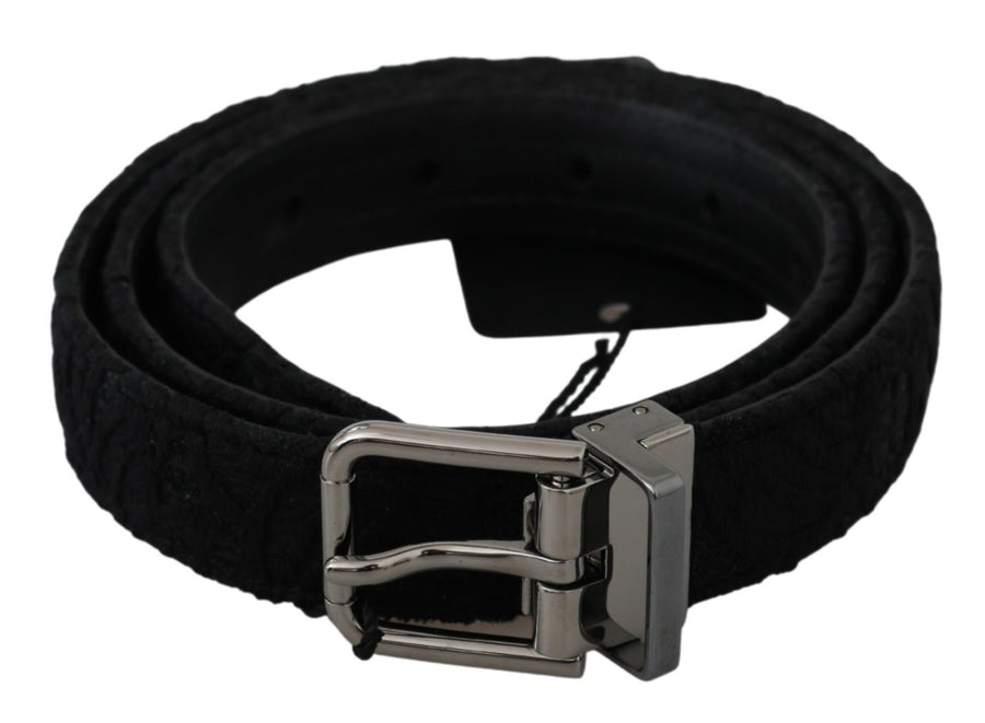 Black Leather Lace Silver Buckle Belt