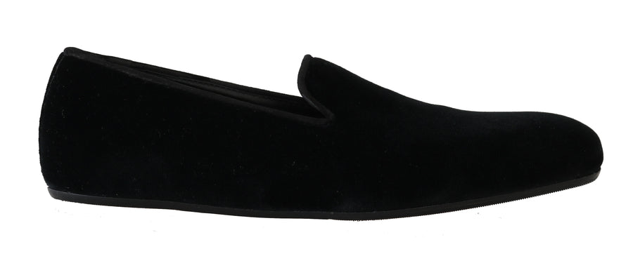 Dolce & Gabbana Black Velvet Suede Loafers Slip Shoes - Men - Shoes - Loafers Drivers - Dolce & Gabbana | Gethuda Fashion