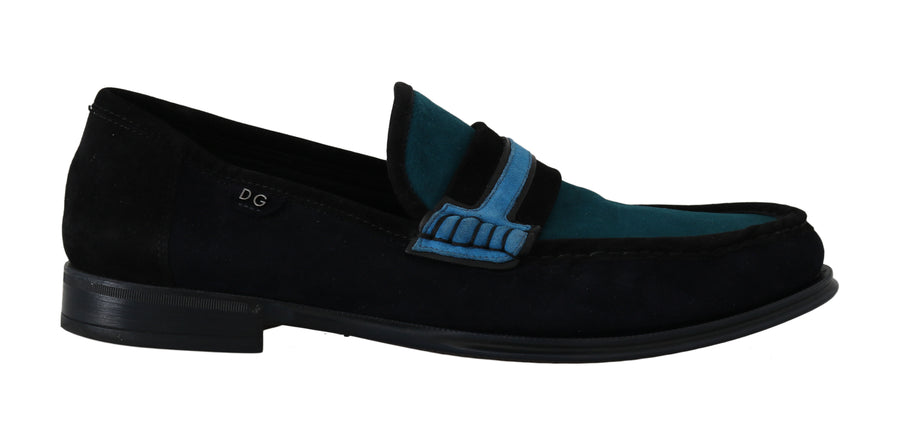 Dolce & Gabbana Blue Suede Goatskin Moccasins Loafers - Men - Shoes - Loafers Drivers - Dolce & Gabbana | Gethuda Fashion