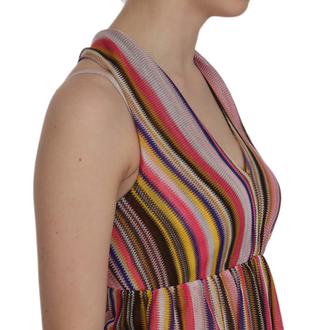 Multi Color Sleeveless Deep Neck Backless Top Blouse