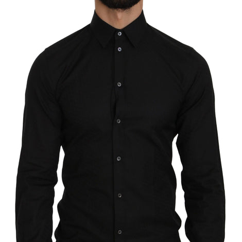 Dolce & Gabbana Black Cotton GOLD Slim Dress Formal  Shirt - Men - Apparel - Shirts - Dress Shirts - Dolce & Gabbana | Gethuda Fashion