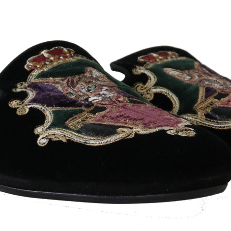 Dolce & Gabbana Black Velvet Bengal Cat Knight Slippers - Men - Shoes - Sandals - Dolce & Gabbana | Gethuda Fashion
