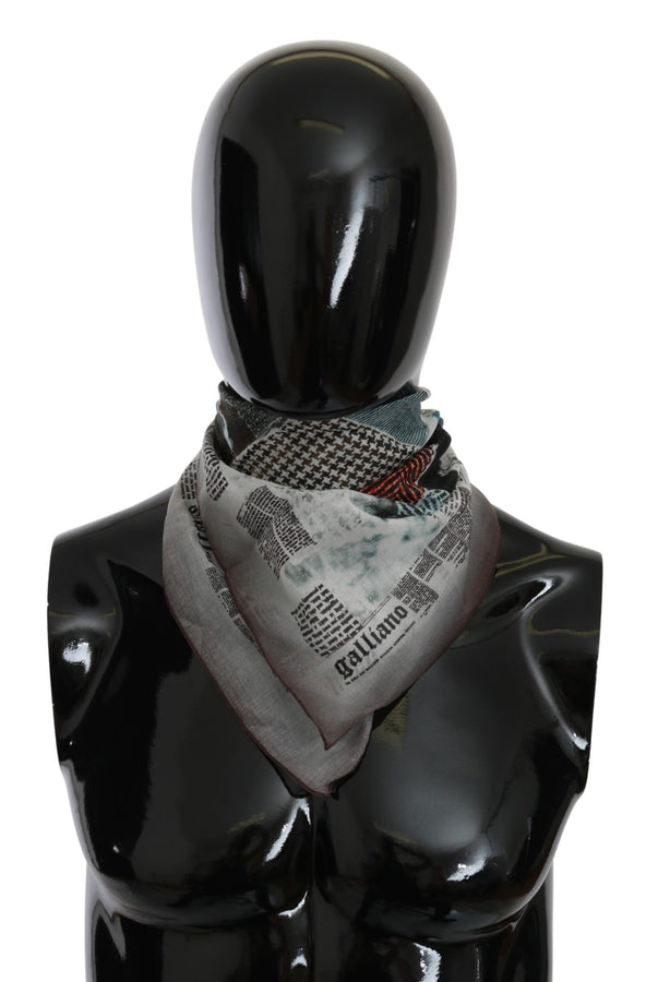 Gray Bandana 100% Cotton Patterned Foulard Scarf
