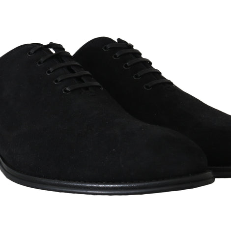 Dolce & Gabbana Black Suede Leather Derby Dress Shoes