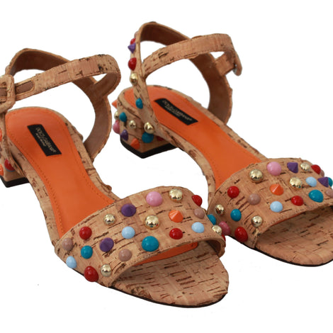 Dolce & Gabbana Beige Sughero Cork Embellished Sandal Shoes - Women - Shoes - Sandals - Dolce & Gabbana | Gethuda Fashion