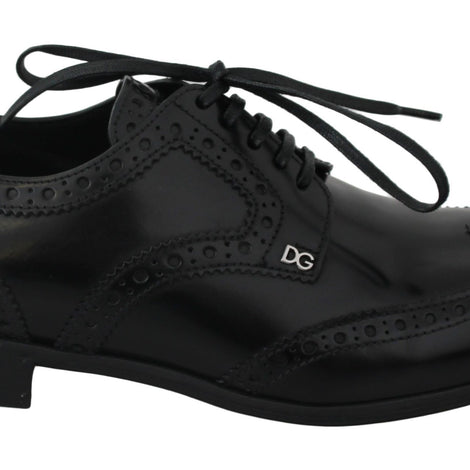 Dolce & Gabbana Black Leather Broques Oxford Wingtip Shoes - Women - Shoes - Flats - Dolce & Gabbana | Gethuda Fashion