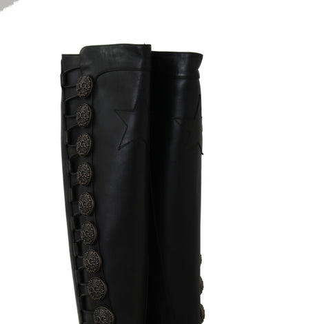 Dolce & Gabbana Black Leather Biker DG Logo Boots -  - Dolce & Gabbana | Gethuda Fashion