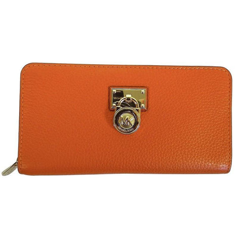 Michael Kors Hamilton Traveler Tangerine Pebbled Leather Large ZIP Around Wallet - Women - Bags - Clutches Evening - Michael Kors | Gethuda Fashion