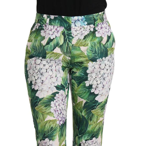 Dolce & Gabbana Hydrangea Print Cropped Brocade Pants Floral Pant