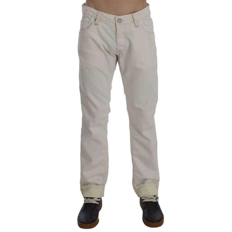 Beige Cotton Stretch Regular Fit Jeans - Men - Apparel - Denim - Jeans - Gethuda Fashion | Gethuda Fashion