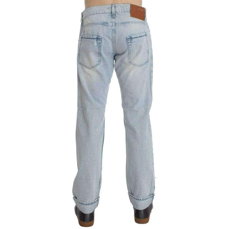 Acht Light Blue Wash Cotton Straight Fit Jeans - Men - Apparel - Denim - Jeans - Gethuda Fashion | Gethuda Fashion