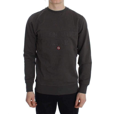 Gray Cotton Stretch Crewneck Pullover Sweater - Men - Apparel - Sweaters - Pull Over - Aeronautica Militare | Gethuda Fashion