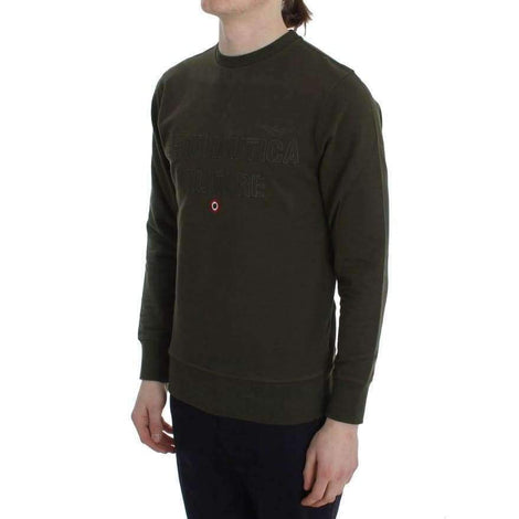 Green Cotton Stretch Crewneck Pullover Sweater - Men - Apparel - Sweaters - Pull Over - Aeronautica Militare | Gethuda Fashion