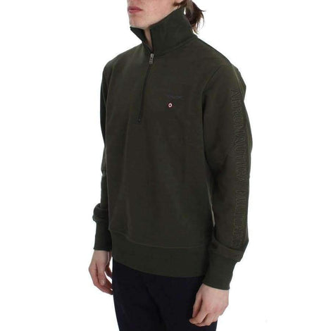 Green Cotton Stretch Half Zipper Sweater - Men - Apparel - Sweaters - Pull Over - Aeronautica Militare | Gethuda Fashion