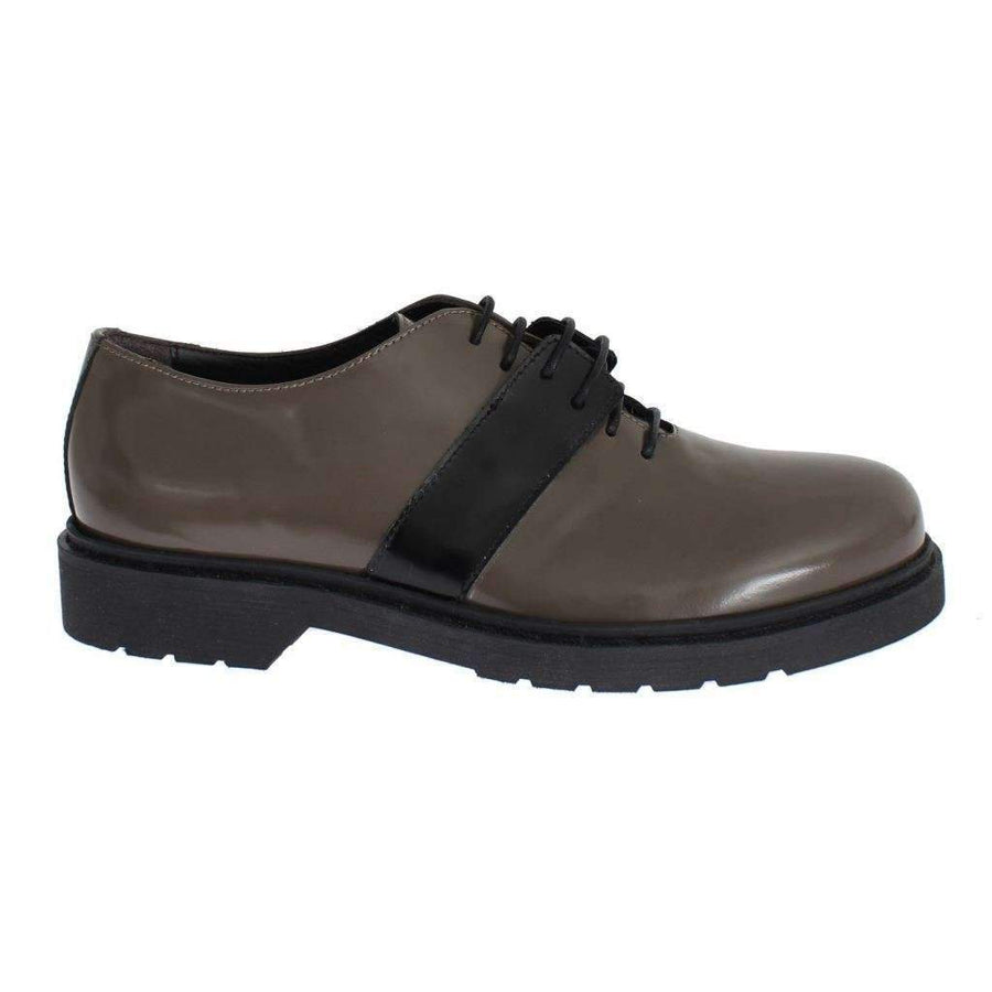 AI_ Gray Brown Leather Laceups Shoes - Women - Shoes - Flats - AI_ | Gethuda Fashion
