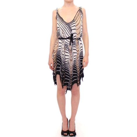 Alice Palmer Black Chainette Knit Striped Assymetrical Dress