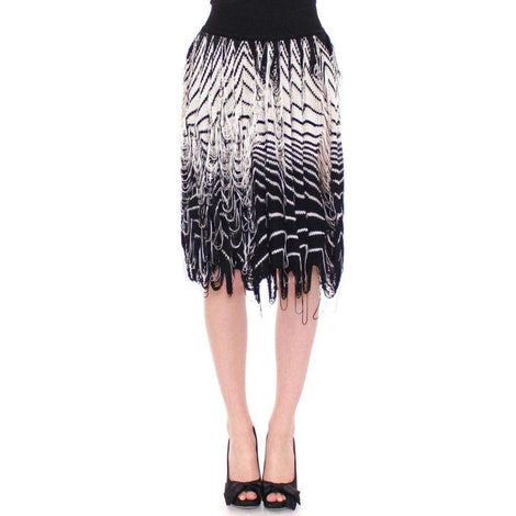 White Black Knitted Assymetrical Skirt - Women - Apparel - Skirts - Knee Length - Alice Palmer | Gethuda Fashion