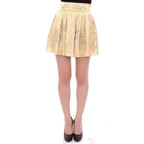 Andrea Incontri Beige Floral Embroidery Mini Skirt