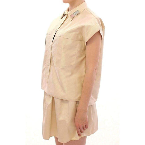 Beige Sleeveless Blouse Top - Women - Apparel - Shirts - Blouses - Andrea Incontri | Gethuda Fashion