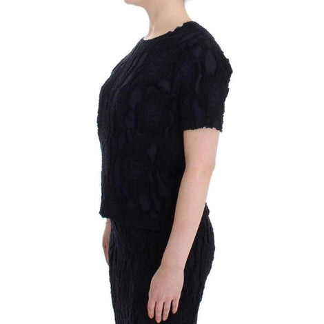 Black Jaquard Blouse Top Shirt