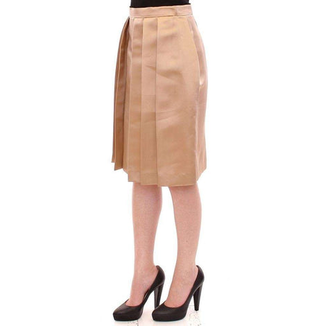 Brown Silk Solid Mini Pleated Skirt - Women - Apparel - Skirts - Knee Length - Andrea Incontri | Gethuda Fashion