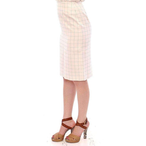 White Cotton Checkered Pencil Skirt - Women - Apparel - Skirts - Pencil - Andrea Incontri | Gethuda Fashion