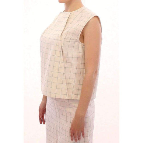 White Cotton Checkered Shirt Top - Women - Apparel - Shirts - Blouses - Andrea Incontri | Gethuda Fashion