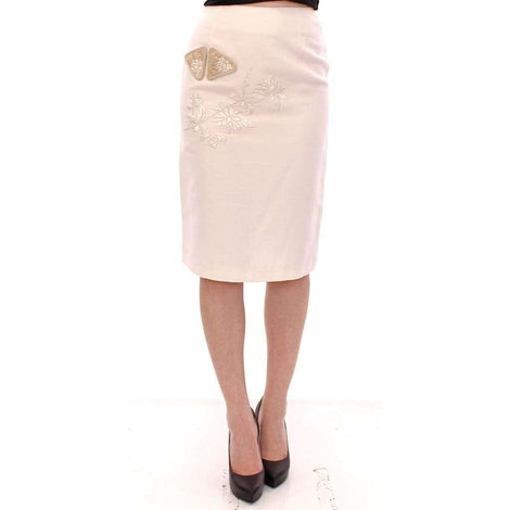 White Cotton Floral Embroidery Skirt - Women - Apparel - Skirts - Knee Length - Andrea Incontri | Gethuda Fashion