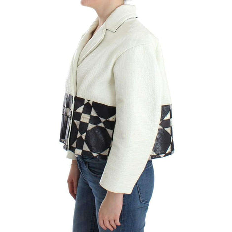 White Black Cropped Leather Jacket - Women - Apparel - Outerwear - Jackets - Andrea Pompilio | Gethuda Fashion
