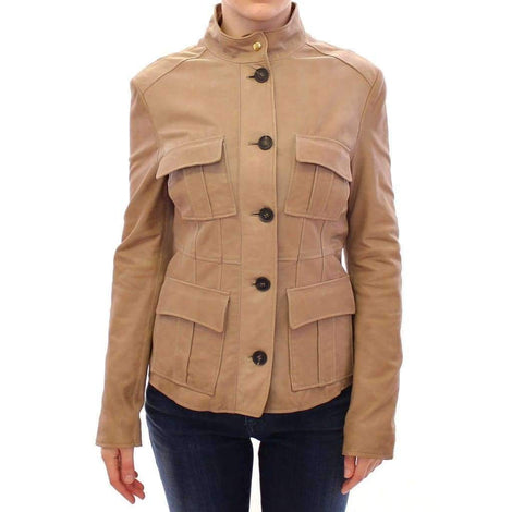Aquascutum Beige Leather Jacket - Women - Apparel - Outerwear - Jackets - Aquascutum | Gethuda Fashion