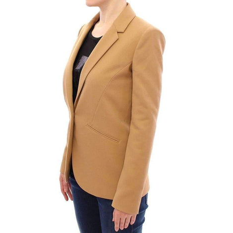 Beige One Button Blazer Jacket