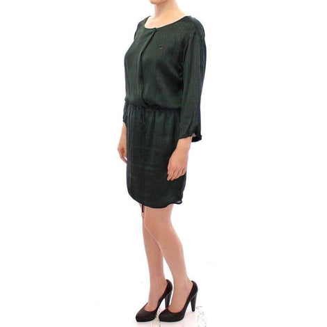 Green Zig Zag Logo 3/4 Sleeve Dress
