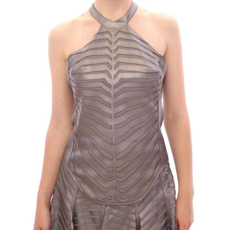Silver Leather Striped Halter Neck Top - Women - Apparel - Shirts - Blouses - Arzu Kaprol | Gethuda Fashion