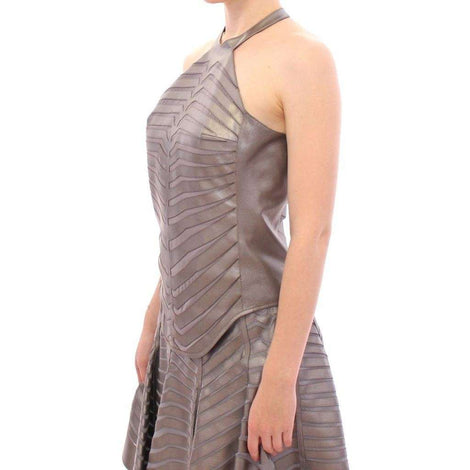 Arzu Kaprol Silver Leather Striped Halter Neck Top