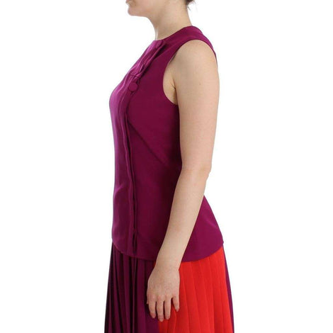 Purple Silk Sleeveless Blouse Top - Women - Apparel - Shirts - Blouses - Barbara Casasola | Gethuda Fashion