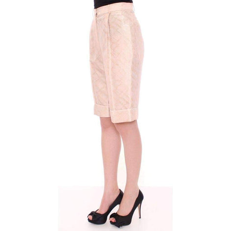 Beige Brocade Above Knee Shorts - Women - Apparel - Shorts - Casual - Zeyneptosum | Gethuda Fashion