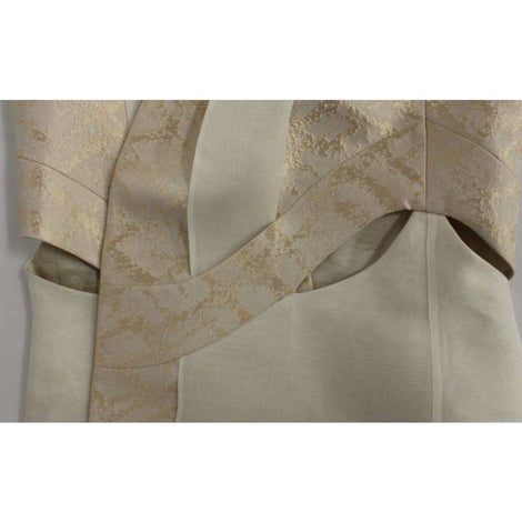 Beige brocade sleeveless jacket vest - Women - Apparel - Outerwear - Jackets - Zeyneptosum | Gethuda Fashion