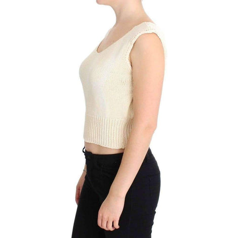 Beige Cotton Blend Knitted Sleeveless Sweater - Women - Apparel - Sweaters - Pull Over - PINK MEMORIES | Gethuda Fashion