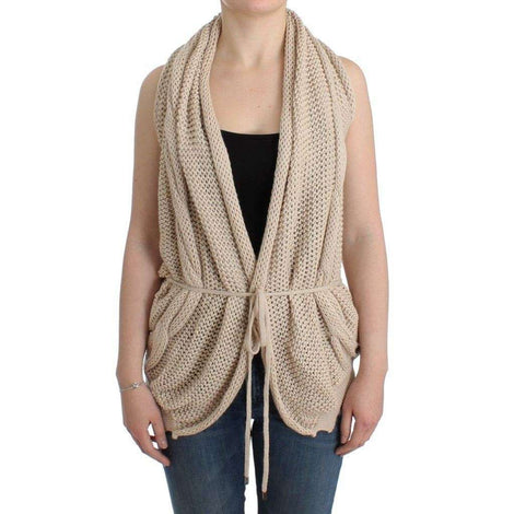 Beige sleeveless knitted cardigan - Women - Apparel - Sweaters - Pull Over - Costume National | Gethuda Fashion