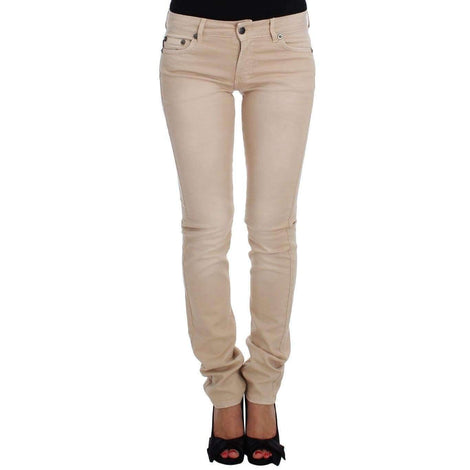 Beige Wash Slim Fit Cotton Stretch Jeans - Women - Apparel - Denim - Jeans - Cavalli | Gethuda Fashion
