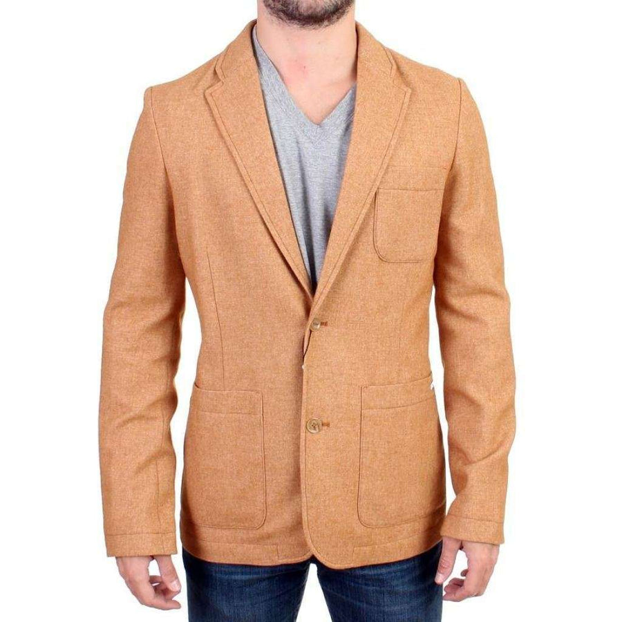 Beige Wool Blend Two Button Blazer - Men - Apparel - Outerwear - Blazers - GF Ferre | Gethuda Fashion