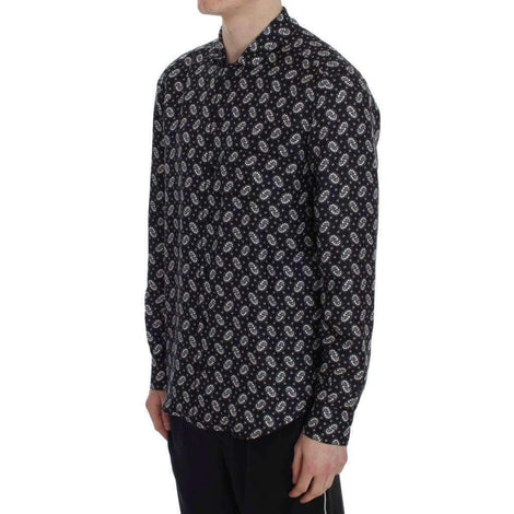 Dolce & Gabbana Black Floral Print Silk Pajama Shirt - Men - Apparel - Lingerie And Sleepwear - Pajama Sets - Dolce & Gabbana | Gethuda Fashion