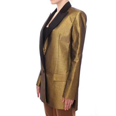 Black Gold Silk Coat Jacket Long Blazer - Women - Apparel - Suits - Classic - Roberto Fragata | Gethuda Fashion