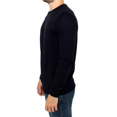 Black Knitted Wool Blend Pullover Sweater - Men - Apparel - Sweaters - Pull Over - GF Ferre | Gethuda Fashion
