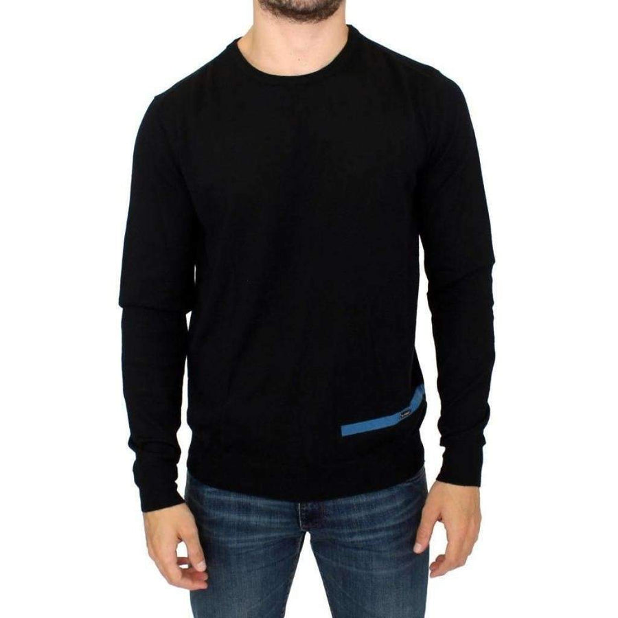 Gf Ferre Black Knitted Wool Crewneck Pullover Sweater - Men - Apparel - Sweaters - Pull Over - GF Ferre | Gethuda Fashion
