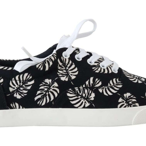 Dolce & Gabbana Black Leaf Print Canvas Sneakers - Men - Shoes - Sneakers - Dolce & Gabbana | Gethuda Fashion