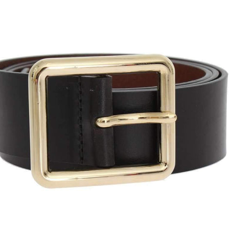 Dolce & Gabbana Black Leather Gold Buckle Belt - Women - Accessories - Belts - Dolce & Gabbana | Gethuda Fashion