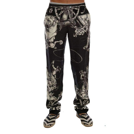 Dolce & Gabbana Black Sicilian Western Cowboy Silk Pants - Men - Apparel - Trousers - Dolce & Gabbana | Gethuda Fashion