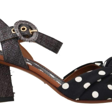 Dolce & Gabbana Black Straw Ankle Strap Sandals - Women - Shoes - Sandals - Dolce & Gabbana | Gethuda Fashion