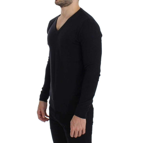 Black Wool Blend Mens V-neck Pullover Sweater - Men - Apparel - Sweaters - Pull Over - GF Ferre | Gethuda Fashion